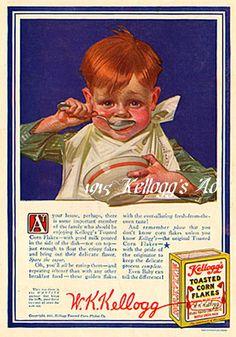 Kellogg's Corn Flakes Child Kitchen Decor by Leyendecker 1916 Antique Ad Vintage Advertisements, Vintage Ads, Vintage Food, Vintage Kitchen, American Illustration, Illustration Art, Jc Leyendecker, Corn Flakes, Reproduction