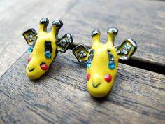 ♥+Süße+Giraffen+Ohrringe+♥+Ohrstecker+Gireffe+von+Kinderschmuck++auf+DaWanda.com
