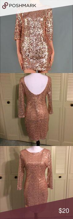 "NWT Rose Sequin Scoop Back Dress SZ L Gorgeous rose gold sequin dress. 3/4 Sleeve length. 33"" length from shoulder to knee. Charlotte Russe Dresses Midi"