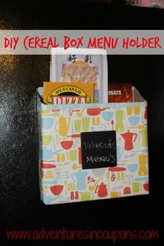 Buried in clutter? This DIY Cereal Box Menu Holder is a quick, budget friendly answer! It works up in about 15 minutes and looks great when finished! Kid Friendly Too!