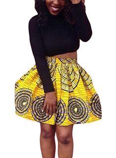 SALE PRICE - $16.99 - Dearlovers Women African Print High Waist A Line Short Skirt