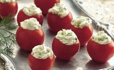 Cucumber-Dill Stuffed Cherry Tomatoes // snippets of fragrant fresh dill + finely chopped cucumber + cream cheese Holiday Party Appetizers, Cold Appetizers, Healthy Appetizers, Appetizer Recipes, Party Snacks, Italian Appetizers, Party Recipes, Keto Recipes, Healthy Recipes
