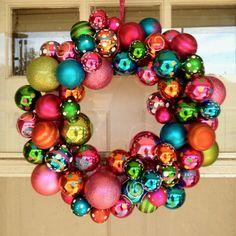 Homemade ornament wreath. #Christmas #ornament #ornamentwreath #diywreath