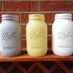 Painted Mason Jar, yellow white gray mason jar, rustic wedding, rustic shower decor, - pinned by pin4etsy.com