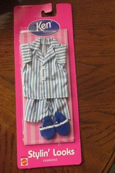 KEN STYLIN' LOOKS FASHION BARBIES BOYFRIEND  ~ 1998 ~  BLUE WHITE PAJAMAS PJ'S #Mattel