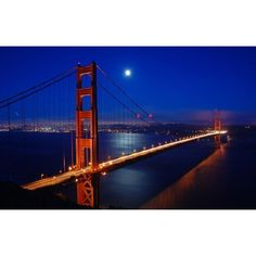 "LED Lighted Famous San Francisco Golden Gate Bridge Canvas Wall Art 15.75"" x 23.5"", Black night"