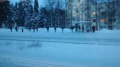 People waiting for a bus in Finland
