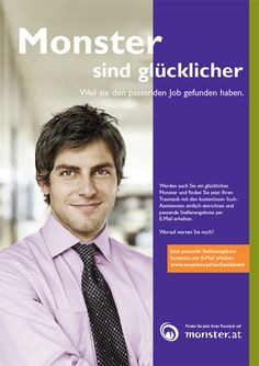"""Monster sind glücklicher""-Kampagne anno 2007 As Time Goes By, Monster, Dream Job, Career"