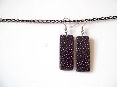 Cosmic sky jewelry polka dots earrings black and white by pErix, $14.00