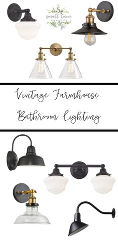 Bathroom Vintage Style Farmhouse Bathroom Lighting - Small Town Farmhouse Deciding how much soil to Vintage Bathroom Lighting, Vintage Industrial Lighting, Vintage Bathrooms, Modern Lighting, Modern Bathroom, Small Bathroom, Bathroom Ideas, Lighting Ideas, Modern Farmhouse Lighting