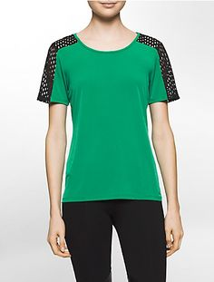 Image for perforated scuba short sleeve top from Calvin Klein