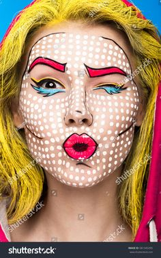 Photo Of Surprised Young Woman With Professional Comic Pop Art Make-up And Design Manicure. Stock Image – Image of hairstyle, animation: 86143525 Moda Pop Art, Pop Art Kostüm, Pop Art Girl, Up Girl, Pop Art Fashion, Fashion Beauty, Beauty Style, Beauty Art, Fashion Shoot