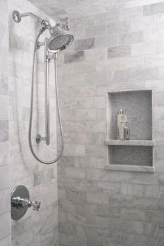 Master shower - Heather Garrett Design - bathrooms - marble subway tile, marble subway tiled shower, marble subway tiled shower surround, recessed tiled she. Tile Shower Niche, Subway Tile Showers, Bath Shower, Recessed Shower Shelf, Marble Showers, Subway Tiles, Bathroom Renos, Bathroom Renovations, Bathroom Ideas