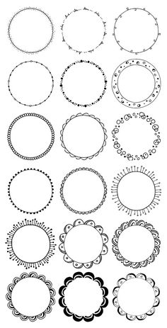 36 Hand Drawn Decorative Round Frames, Circle Borders: Floral, Boho, Tribal, Abstract Doodle; Waves, Leaves, Flowers; Digital Frames Clipart