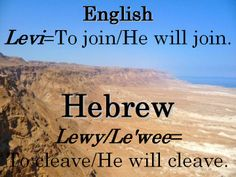 Levi Hebrew Words, Meant To Be, Names