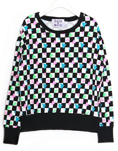 Neon Checkered Sweatshirt (2 Colors) | 2014 Spring & Summer | Dolly & Molly | www.dollymolly.com | #women #girly #red #vintage #2014ss #dailystyle #lookbook #ootd #korea #fashion #colorful #checkered #chic
