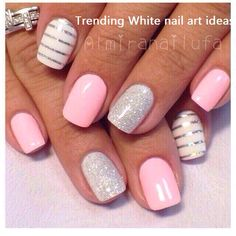 Make an original manicure for Valentine's Day - My Nails White Nail Designs, Diy Nail Designs, Pedicure Designs, Pedicure Ideas, Art Designs, Shellac Nails, Diy Nails, Cute Summer Nails, Spring Nails