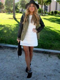 Blonde-Mery Outfit  casual trendy urbano  Otoño 2012. Combinar Vestido Blanco Zara Kids, Cómo vestirse y combinar según Blonde-Mery el 5-11-2012