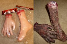 Pinner says: Took several of these dollar store hands and feet, made them look a little gross, and now they will be perfect for laying around in the Halloween cemetary Halloween Haunted Houses, Creepy Halloween, Outdoor Halloween, Holidays Halloween, Halloween Forum, Diy Halloween Body Parts, Halloween 2019, Halloween Stuff, Haunted Maze
