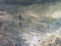Ruth Stage 'Figure on Cornish Beach', egg tempera on gesso board 61 x 76cm
