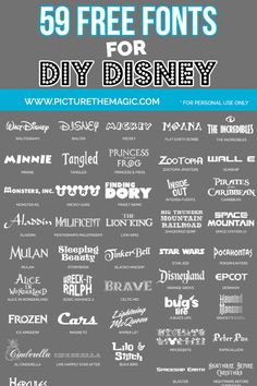 58 Free Disney Fonts - New Ideas Scrapbook Disney, Ideas Scrapbook, Scrapbook Cover, Scrapbooking Layouts, Polices Cricut, Fuentes Disney, Plotter Silhouette Cameo, Silhouette Cameo Fonts, Free Silhouette Designs
