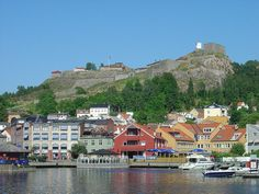 Fredriksten fortress, Halden, Norway as seen from the city's harbor