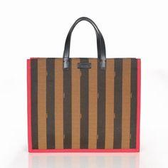 e71ecd4d7679 Fendi Coffee/Red Stripe Waterproof Fabric Tote Bag $199.00 Fabric Tote  Bags, Plastic Packaging