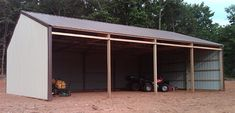 For simple pole barns, Sutherlands features traditional post frame building packages in a variety of sizes and styles to fit all your barn needs. Building A Pole Barn, Post Frame Building, Shed Building Plans, Shed Plans, Barn Plans, Garage Plans, Tractor Shed Ideas, Pole Barn Packages, Tin Siding