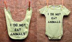Organic Baby Bib and Bodysuit Set Vegan Vegetarian by VeganeseTees, $29.99