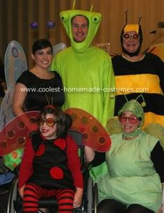 Bug Family Costume: Our family went as bugs.  Praying Mantis, Ladybug, Butterfly, Bumble Bee & Firefly.  All of the bug costumes ( except for the wings) were homemade.