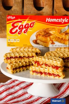 PB&J Waffle Sandwiches   Walmart – Make a twist on the classic peanut butter and jelly sandwiches by using Kellogg's Eggo Waffles instead of bread. The waffles add a touch of sweetness and crispiness and the peanut butter gets gooey when spread on the still warm waffles. Add some sliced fruit for even more flavor and/or try different types of nut butter to change things up. [Photo and recipe by @unsophisticook]