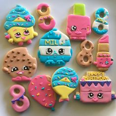 Shopkins custom cookies  For more info please visit my page or email me  www.facebook.com/busybeecakery   www.busybeecakery.com  malinda@busybeecakery.com