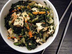 Spicy Kale and Tofu Stir-Fry with Coconut Milk and Sriracha #asecondonthelips #meatlessmonday