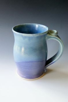 Pottery Coffee Mug in Lavender and Blue, $ 28  Love the thumb rest