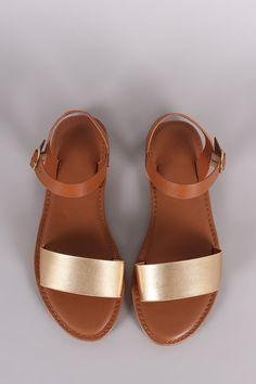 ff3edca0da85f Bamboo Two Tone Ankle Strap Flat Sandal Sandals 2018