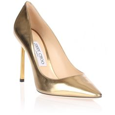 Jimmy Choo Memento Romy 100 mirror leather pump ($675) ❤ liked on Polyvore featuring shoes, pumps, gold, metallic leather pumps, metallic pumps, high heel shoes, leather pumps and pointed toe high heel pumps