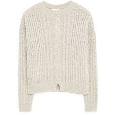 MANGO Chunky-Knit Sweater (3.705 RUB) ❤ liked on Polyvore featuring tops, sweaters, chunky knit sweater, white top, long sleeve sweaters, chunky cable knit sweater and round top