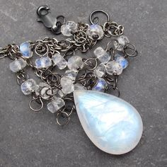 Rainbow Moonstone Necklace Oxidized Sterling by clairannadesigns, $72.00