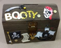 Pirate Chest bank I made as a sample for A.C. Moore. Stained, sealed then added stickers.