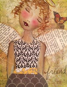 Angel notecards mixed media painting print by JaneLazenbyartist, $12.00
