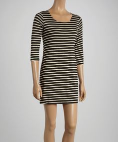 Black & White Stripe Shift Dress by Chris & Carol #zulilyfinds $14.99