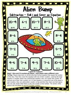 Alien Bump - cute and fun subtraction game.  $ Subtraction Games 25 Subtraction Bump Games by Games 4 Learning