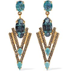 Elizabeth Cole - Constance Gold-tone, Stone And Crystal Earrings ($130) ❤ liked on Polyvore featuring jewelry, earrings, blue, stone earrings, american jewelry, blue crystal earrings, blue stone jewelry and vintage earrings