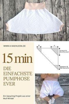 Die ausführliche Anleitung für eine einfache und schnelle Baby-Pumphose als Upcycling-Projekt aus Musselin.