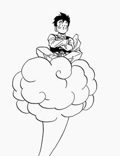Gohan and his wittle cloud, Nimbus.