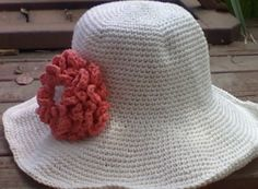 Wide brimmed Cotton Crochet Sunhat with Tangerine by EccentricHats