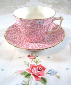 Sampson Smith Old Royal Bone China Tea Cup and Saucer Rear Pink Chintz Design. via Etsy.