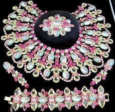 DiMARTINO ORIGINALS Amazing Pink Green Rhinestone Jablonec Glass Bead Grand Set