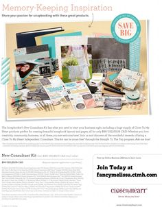 Close to My Heart New Consultant Scrapbook Starter Kit. Only $99 for more than $365 in product. Join the CTMH experience! www.fancymelissa.com/join #craft #diy #directsales consult scrapbook