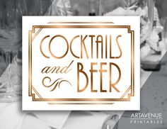 """Art Deco Printable Art, """"COCKTAILS and BEER"""" Sign, Gatsby Wedding Bar Gatsby Party Sign - ADBR1"""